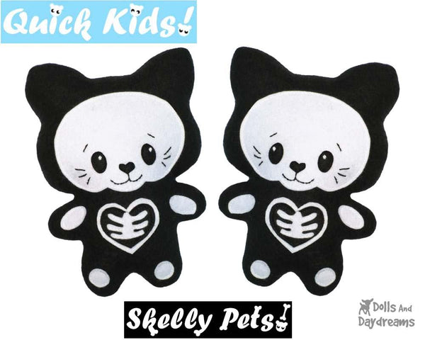 Quick Kids Skelly Kitty Sewing Pattern soft toy easy sew by Dolls and Daydreams