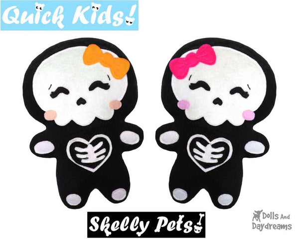 Quick Kids Skelly Girl Sewing Pattern skeleton felt cloth DIY kids toy by Dolls And Daydreams