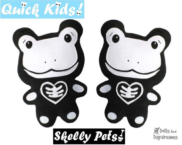 Quick Kids Skelly Frog Sewing Pattern Halloween Skeleton DIY Day of The Dead Plush Toy by Dolls And Daydreams