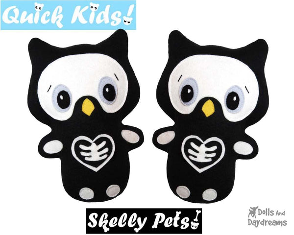 Quick Kids Skelly Owl Sewing Pattern Halloween diy childrens softie cloth toy by dolls and daydreams