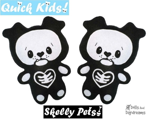 Quick Kids Skelly Puppy Sewing Pattern Softie DIY Plush Toy by Dolls and Daydreams