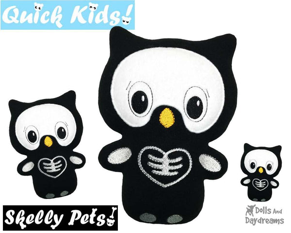 ITH Quick Kids Skelly Owl spooky Pattern in the hoop machine embroidery soft toy by dolls and daydreams