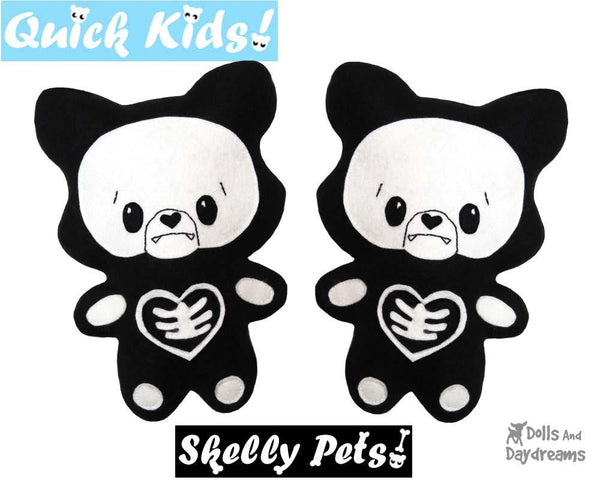 Quick Kids Skeleton wolf Sewing Pattern Halloween diy kids softie cloth toy by dolls and daydreams