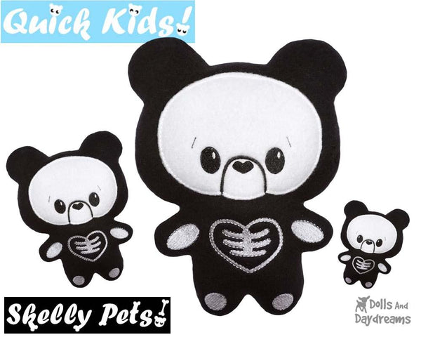 Quick Kids Skelly Teddy In The Hoop Pattern by Dolls And Daydreams