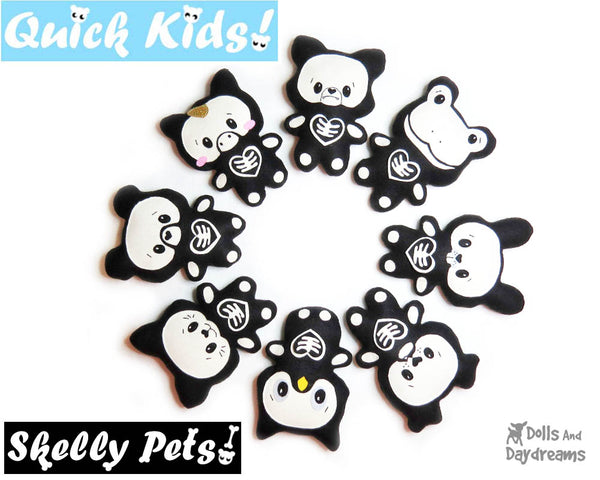 Quick Kids Skelly Pets Soft toy Sewing Pattern by Dolls And Daydreams