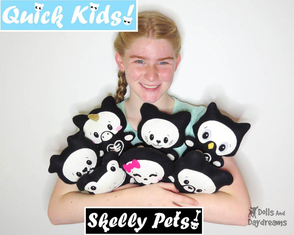 Quick Kids Skelly Pets Soft toy Spooky Cute Sewing Pattern by Dolls And Daydreams
