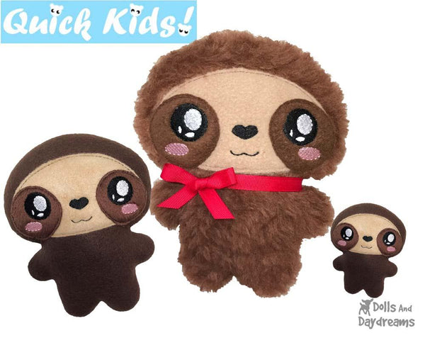 ITH Quick Kids Sloth Pattern Teach your Kids Machine Embroidery by Dolls And Daydreams