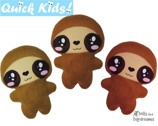 Quick Kids Sloth Sewing Pattern Teach your Kids to Sew by Dolls And Daydreams