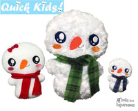 In The Hoop Quick Kids Snowman Machine Embroidery  Pattern teach your kids to sew by Dolls And Daydreams