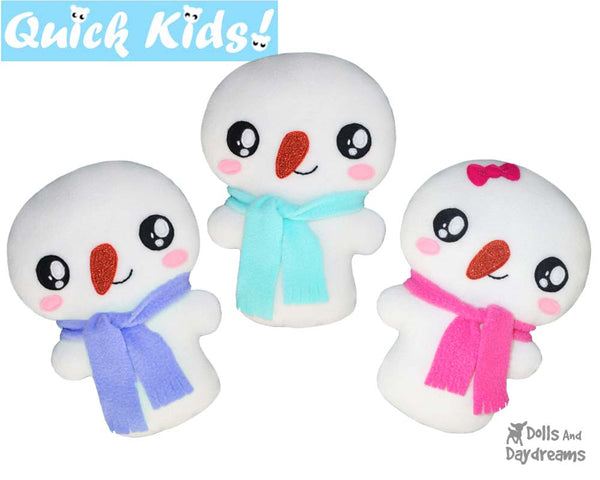 Quick Kids Snowman Sewing Pattern teach your kids to sew by Dolls And Daydreams