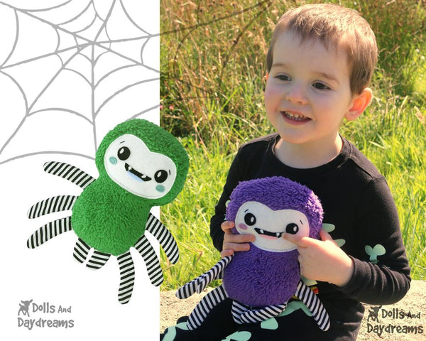 Spider softie Sewing Pattern by Dolls And Daydreams Easy Fun DIY kids toy