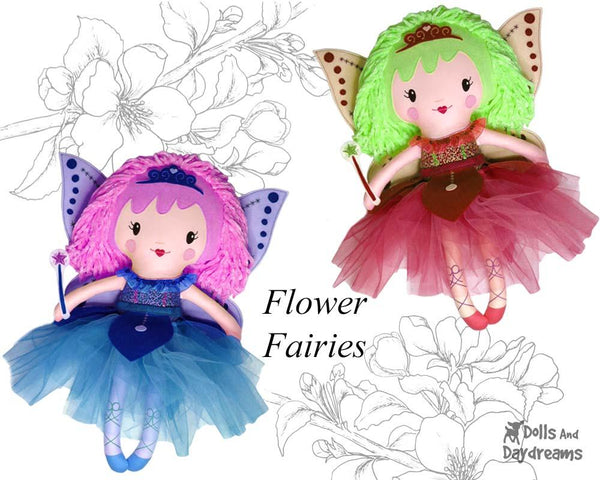 Flower Fairy Doll Sewing Pattern by Dolls And Daydreams DIY Kids Toy Gift