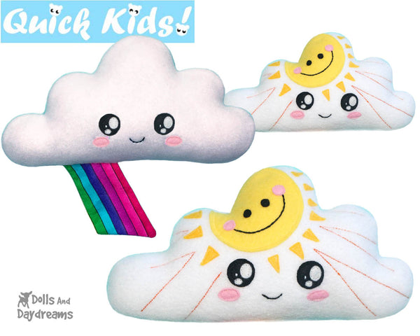 Quick Kids Sun Rainbow Cloud Softie Sewing Pattern teach kids to sew