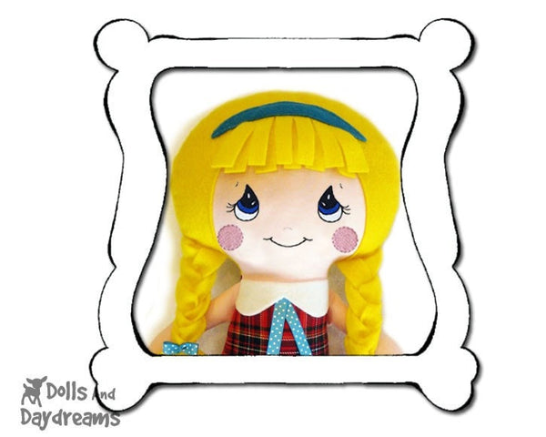 Hand Embroidery Or Painting Cutie Pie Doll Face Pattern - Dolls And Daydreams - 1