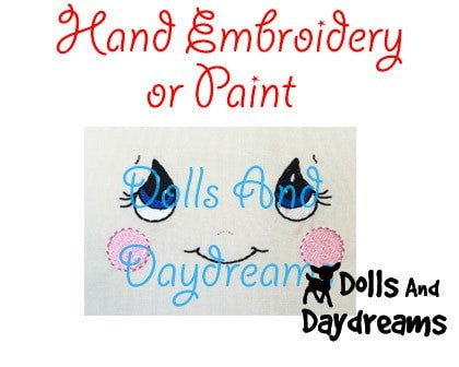 Hand Embroidery Or Painting Cutie Pie Doll Face Pattern - Dolls And Daydreams - 3