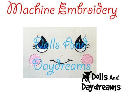 Machine Embroidery Cutie Pie Doll Face Pattern - Dolls And Daydreams - 3