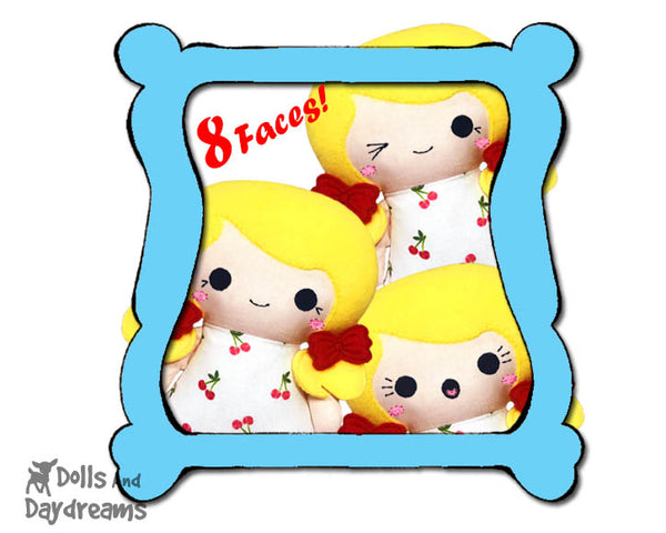 Machine Embroidery Tiny Tot Doll Faces Pattern Pack