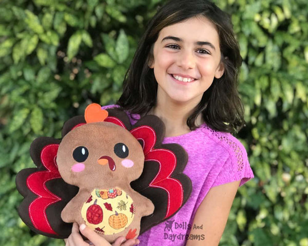 Machine Embroidery In the Hoop Turkey Cloth Toy Pattern by Dolls And Daydreams