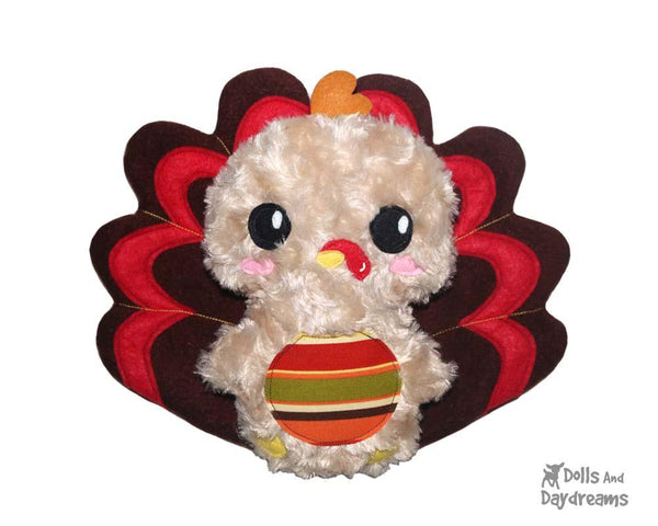 Thanksgiving Turkey Sewing Softie Pattern kids diy toy by dolls and daydreams
