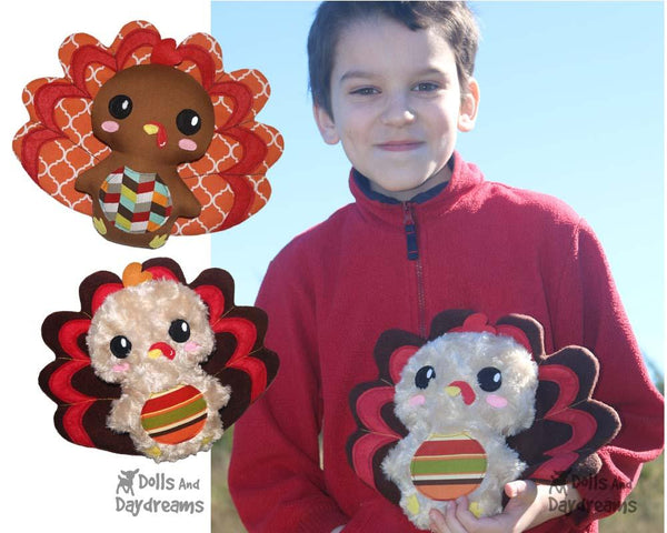 Turkey PDF Sewing Softie Pattern kids diy toy by dolls and daydreams
