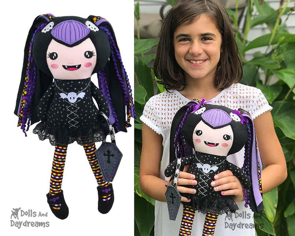 ITH Vampire Girl Doll Machine Embroidery In the Hoop  Pattern by Dolls And Daydreams