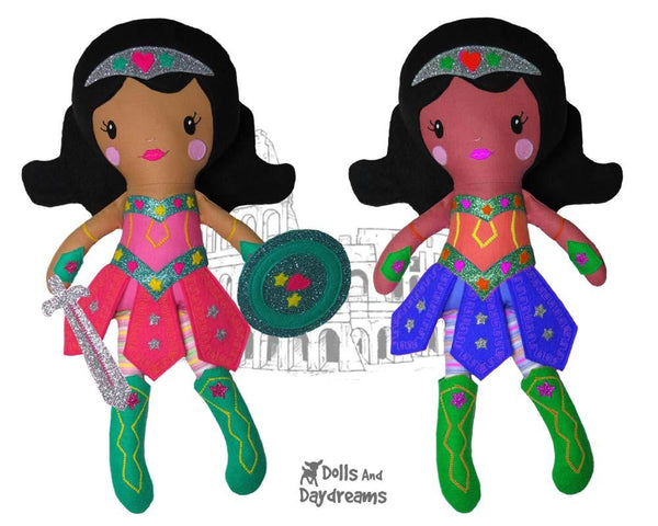 Warrior Princess Cloth Doll Sewing Girl Superhero Pattern by Dolls And Daydreams