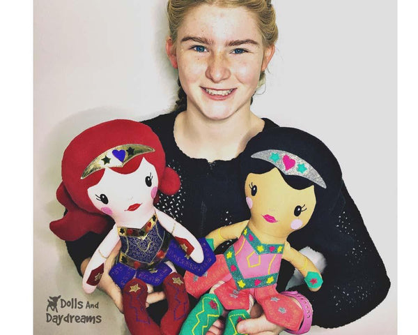 Warrior Princess Cloth Doll Sewing DIY Girl Superhero Pattern by Dolls And Daydreams