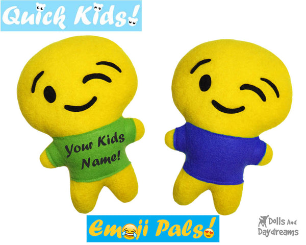 Quick Kids Wink Emoji Sewing Pattern by Dolls And Daydreams Easy DIY Soft Toy plushie