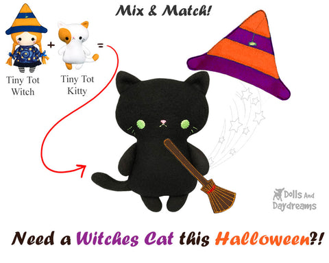 Halloween black witches cat tiny-tot-kitty-sewing-pattern and machine embroidery ITH  pocket sized cat pattern soft toy kids plushie by dolls and daydreams