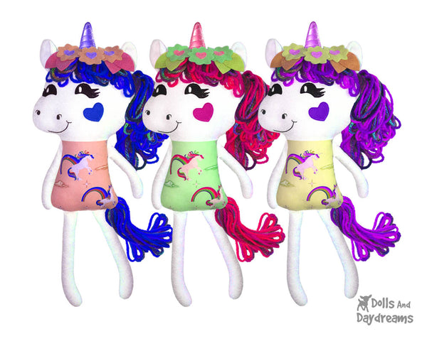 Yarn Hair Unicorn Sewing Pattern DIY Kids Plush Toy by Dolls And Daydreams