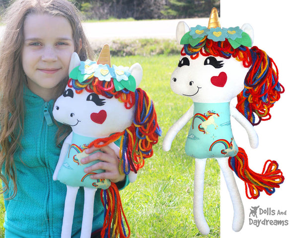 Yarn Hair Unicorn Softie Sewing Pattern DIY Kids Soft Toy by Dolls And Daydreams
