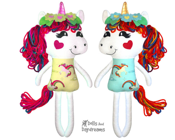 Yarn Hair Unicorn Softie Sewing Pattern DIY Childrens Toy by Dolls And Daydreams