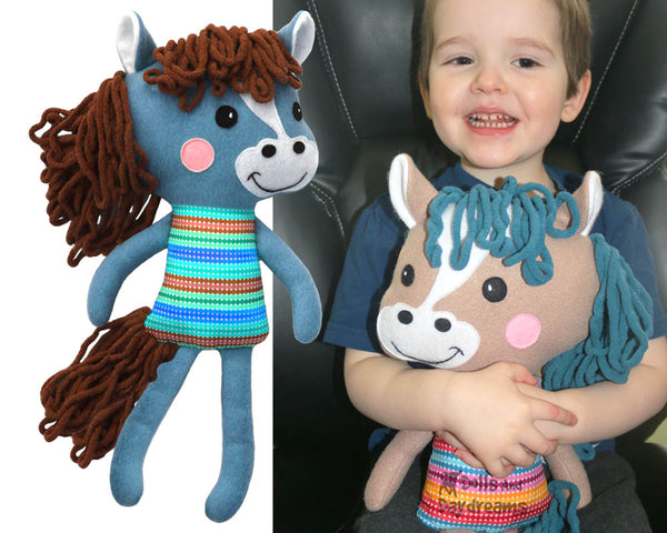 Yarn Hair Horse Softie Sewing Pattern DIY Kids Plushie Toy by Dolls And Daydream