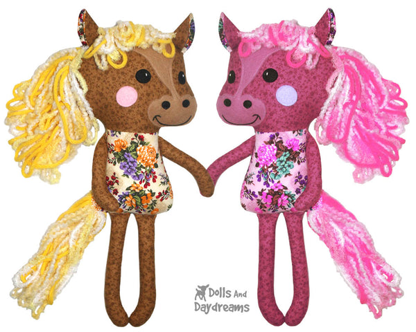 Yarn Hair Horse Softie Sewing Pattern DIY Kids Softie Plush Toy by Dolls And Daydream