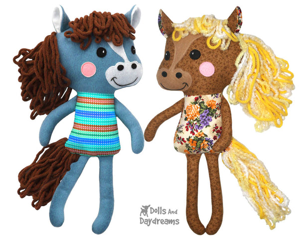 Yarn Hair Horse Softie Sewing Pattern DIY Kids Plush Toy by Dolls And Daydreams