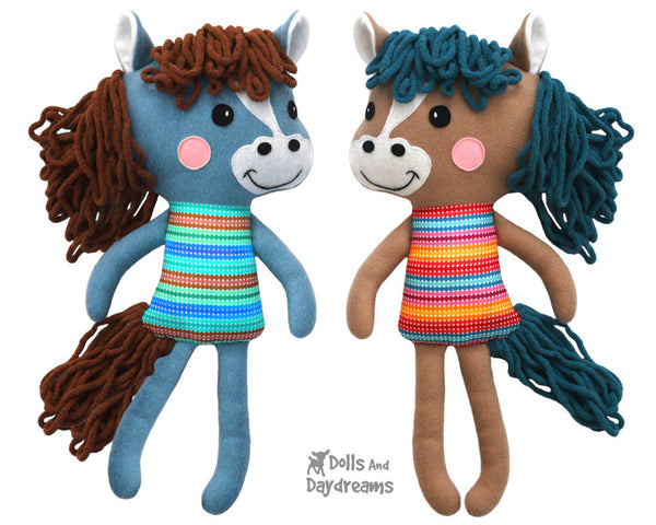 Yarn Hair Horse Softie Sewing Pattern DIY Kids Soft Plush Toy by Dolls And Daydream
