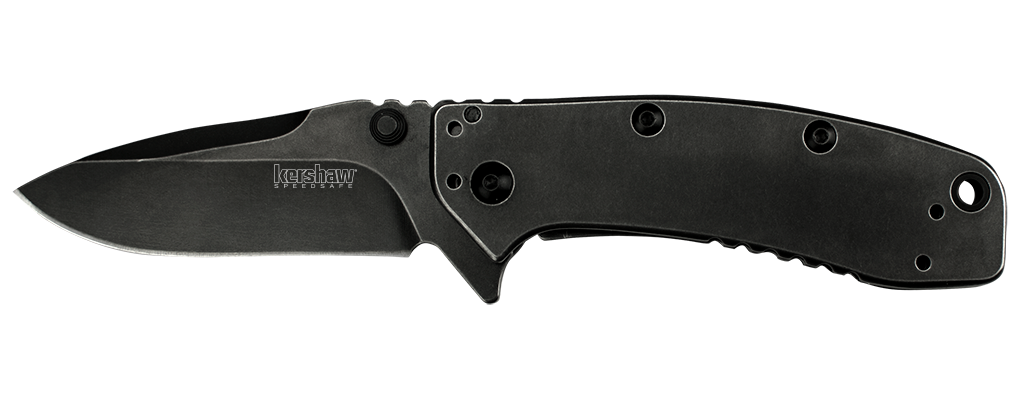 "Kershaw Cryo II BlackWash Spring Assisted Knife (3.25"" Plain) 1556BW - GearBarrel.com"