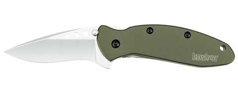 "Kershaw Scallion Olive Spring Assisted Knife (2.25"" Bead Plain) 1620OL"