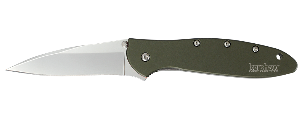"Kershaw Leek Olive Spring Assisted Knife (3"" Bead Blast Plain) 1660OL - GearBarrel.com"