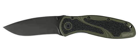 "Kershaw Knives Blur Olive Spring Assisted Knife (3.375"" Black Plain) 1670OLBLK"