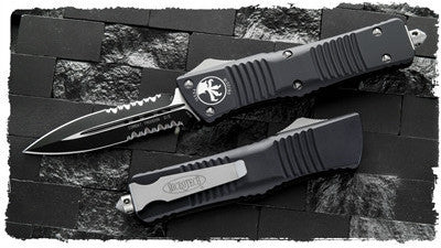 "Microtech Combat Troodon D/E OTF  (3.8"" Two-Tone Black) 142-2 - GearBarrel.com"