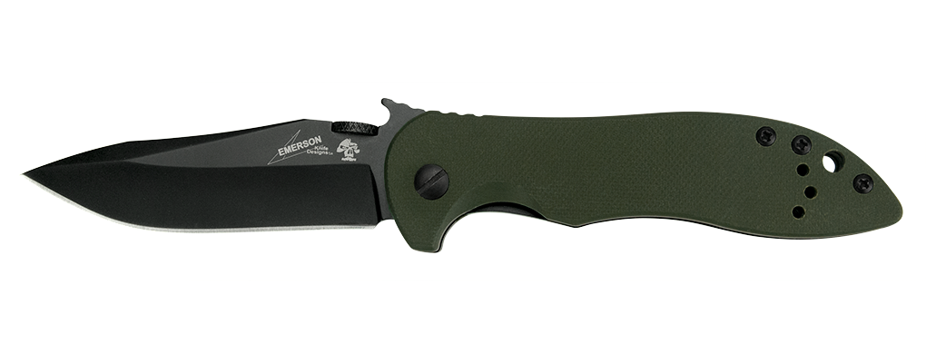 "Kershaw Emerson CQC-5K Liner Lock Knife Green G-10 (3"" Black) 6074OLBLK - GearBarrel.com"