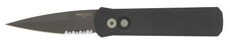 "Protech Godson Automatic Knife (3.15"" Black Serr) 721 PS - GearBarrel.com"