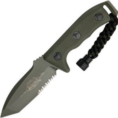 "Microtech Currahee Tanto Knife Fixed Blade (4.5"" OD Green Serr) 103-2GR"