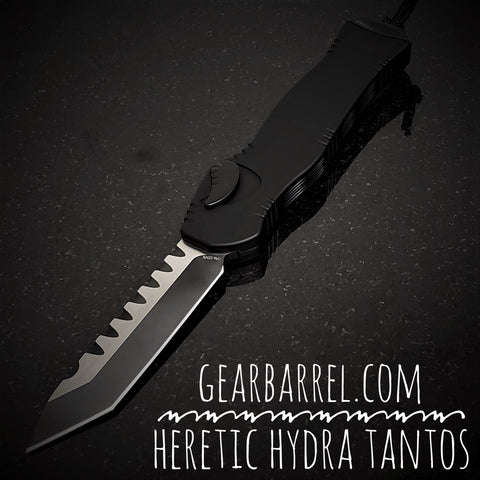 "2020 Heretic Knives Hydra OTF  Black Tanto (3.625"" 2 Tone DLC)"
