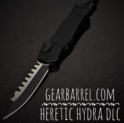 "2020 Heretic Knives Hydra OTF Automatic Knife Black (3.625"" 2 Tone DLC)"