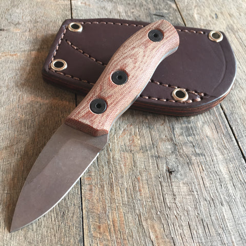 "Fiddleback Forge Production Runt Knife Natural Canvas Micarta (2.125"" Stonewash)"