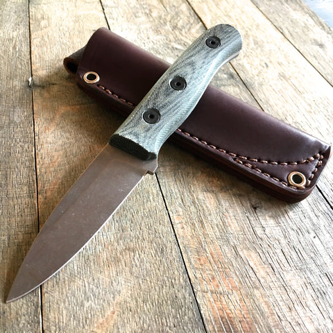 "Fiddleback Forge Production Hiking Buddy Black Canvas Micarta (3.25"" Stonewash)"