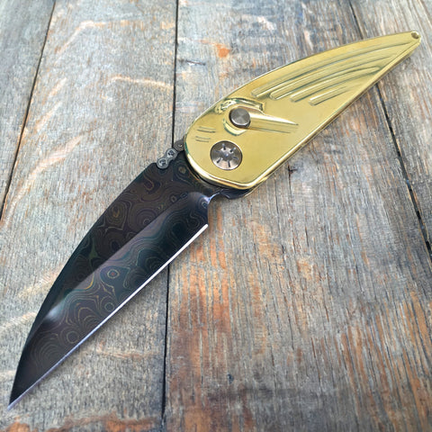"Rat Worx MRX Chief Automatic Knife Brass (3.6"" Hand Ground Damascus)"