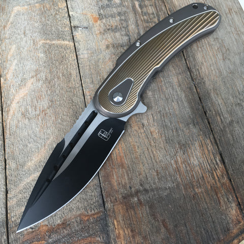 Todd Begg Knives: Steelcraft Series - Bodega - Bronze Frame - Gold Fan Patt. - Two-Tone Blade